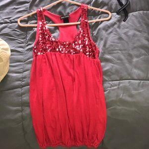 Shimmering red shirt